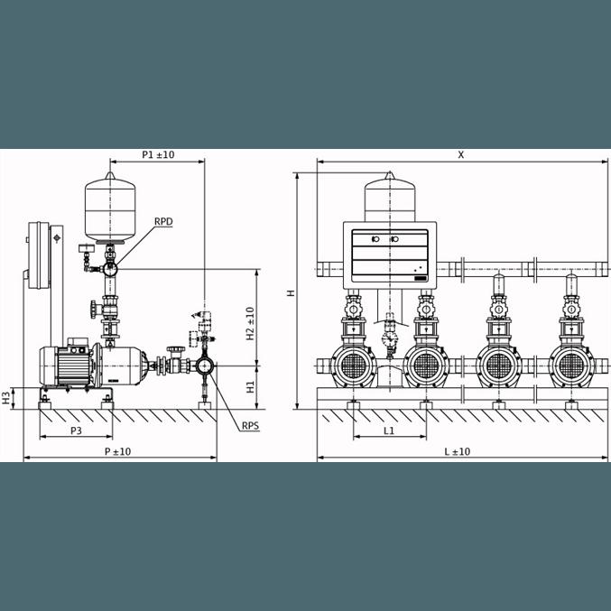 Габаритный чертеж насосной станции Wilo CO-2 MHI 203/CE-EB-R