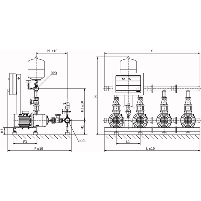 Габаритный чертеж насосной станции Wilo CO-2 MHI 205/CE-EB-R