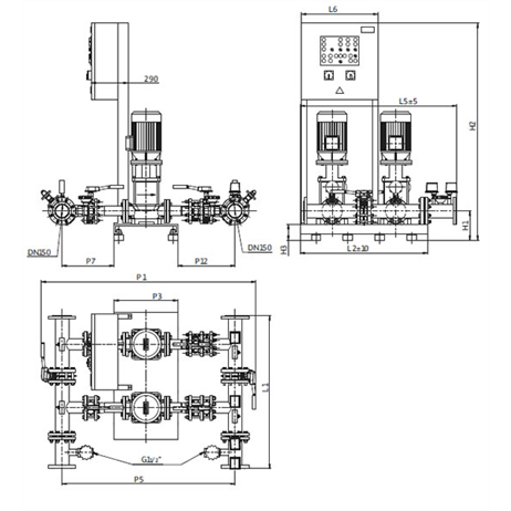 Габаритный чертеж насосной станции Wilo CO-2 MVI 7001/1/SK-FFS-S-R