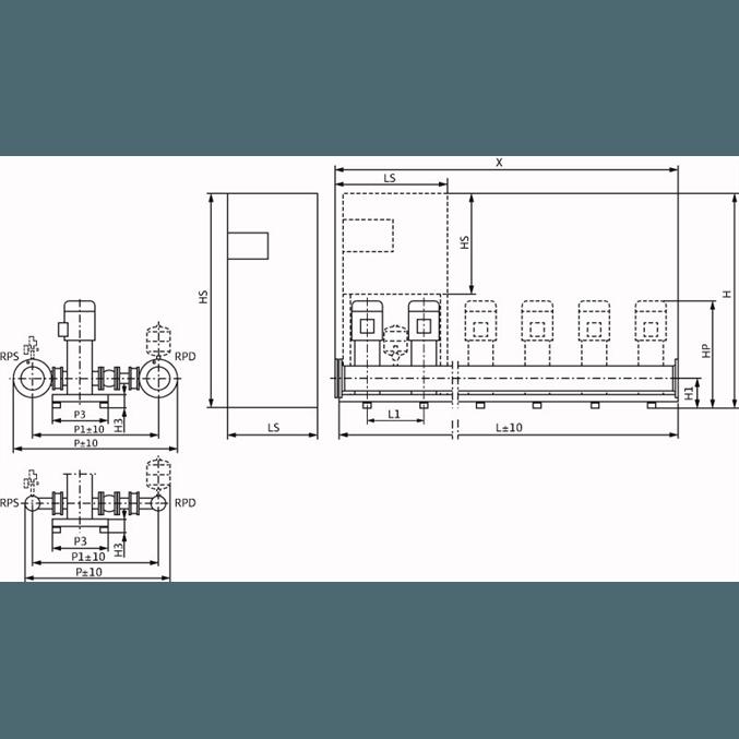 Габаритный чертеж насосной станции Wilo CO-2 MVI 7003/2/CC-EB-R