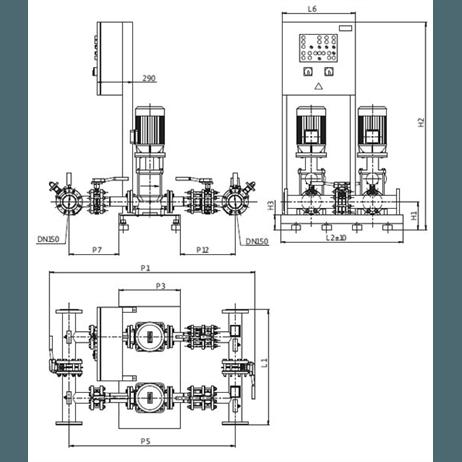 Габаритный чертеж насосной станции Wilo CO-2 MVI 7006 PN25/SK-FFS-D-R