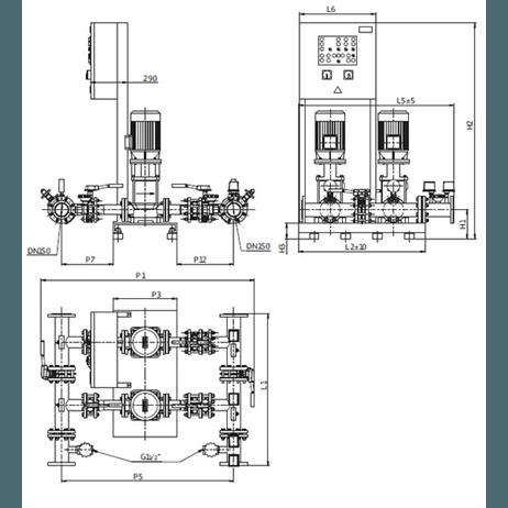 Габаритный чертеж насосной станции Wilo CO-2 MVI 7006 PN25/SK-FFS-S-R