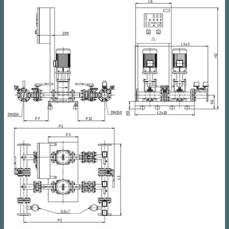 Габаритный чертеж насосной станции Wilo CO-2 MVI 9504/1/SK-FFS-S-R