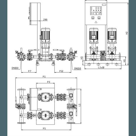 Габаритный чертеж насосной станции Wilo CO-2 MVI 9504/2/SK-FFS-D-EB-R