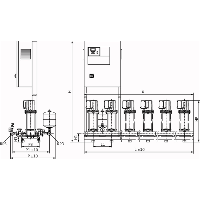 Габаритный чертеж насосной станции Wilo CO-3 MVIS 206/CE-EB-R