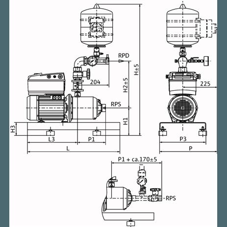 Габаритный чертеж насосной станции Wilo COR-1 MHIE 205-2G GE-R
