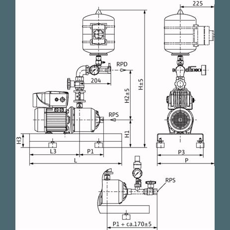Габаритный чертеж насосной станции Wilo COR-1 MHIE 205 EM2-GE-R
