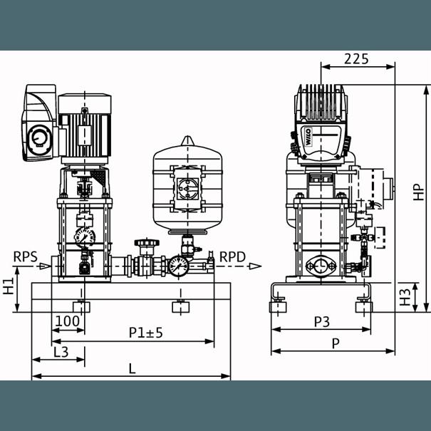 Габаритный чертеж насосной станции Wilo COR-1 MVIE 204 EM2-GE-R