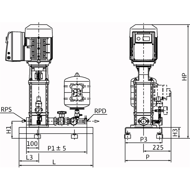 Габаритный чертеж насосной станции Wilo COR-1 MVIE 208-2G GE-R