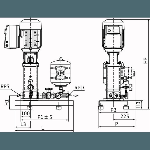 Габаритный чертеж насосной станции Wilo COR-1 MVIE 403-2G GE-R