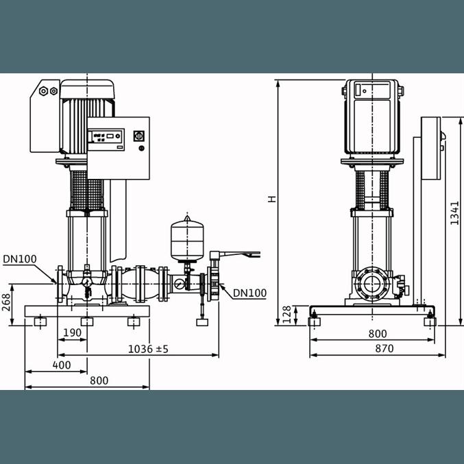Габаритный чертеж насосной станции Wilo COR-1 MVIE 7004/VR-EB-R