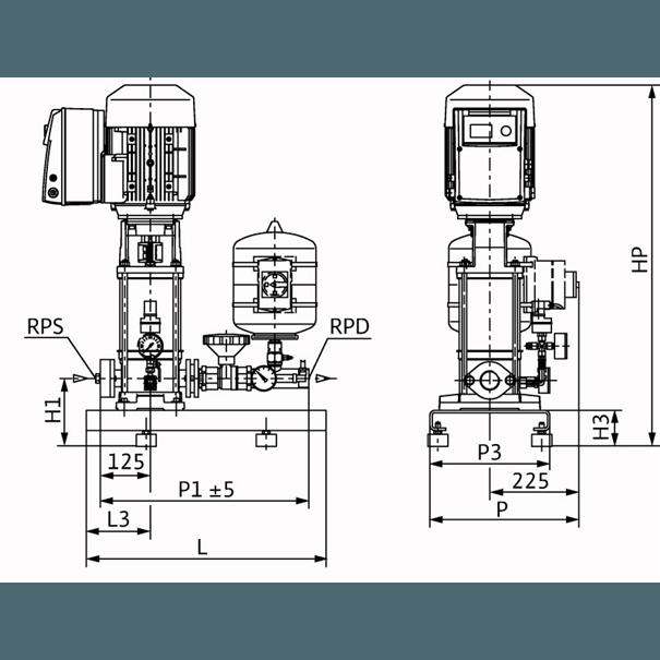 Габаритный чертеж насосной станции Wilo COR-1 MVIE 803-2G GE-R