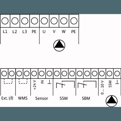 Схема подключения насосной станции Wilo COR-1 MVIE 7004/VR-EB-R