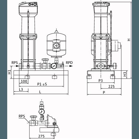 Габаритный чертеж насосной станции Wilo COR-1 MVISE 404-2G-GE-R