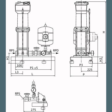 Габаритный чертеж насосной станции Wilo COR-1 MVISE 406-2G-GE-R