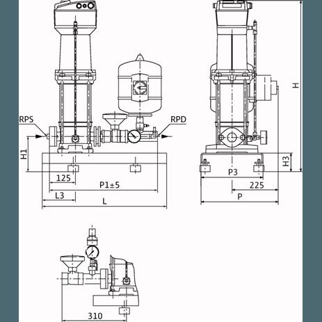 Габаритный чертеж насосной станции Wilo COR-1 MVISE 803-2G-GE-R