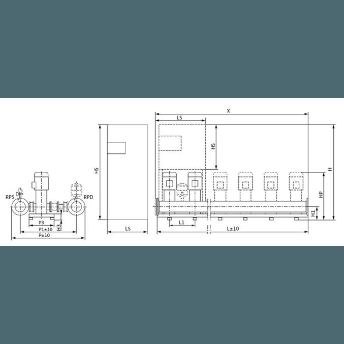 Габаритный чертеж насосной станции Wilo COR-2 HELIX V 1004/Skw-EB-R