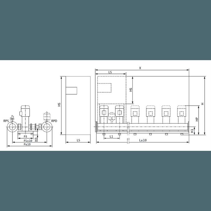 Габаритный чертеж насосной станции Wilo COR-2 HELIX V 1008/Skw-EB-R