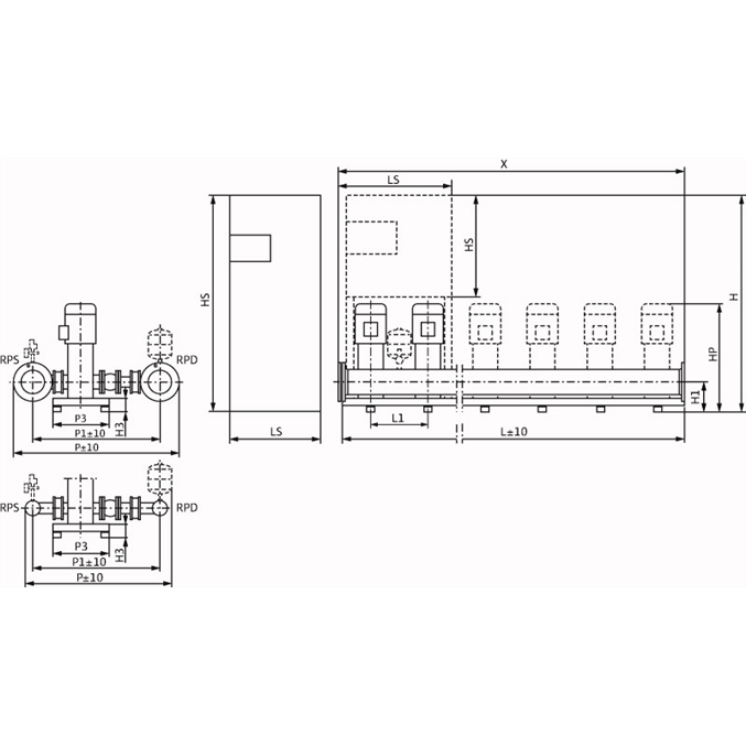 Габаритный чертеж насосной станции Wilo COR-2 HELIX V 5206/2/SKw-EB-R
