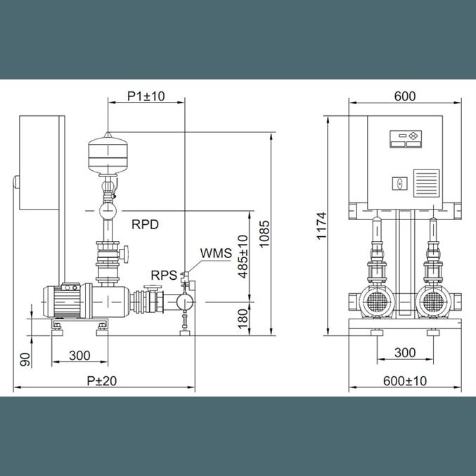 Габаритный чертеж насосной станции Wilo COR-2 MHI 1602/SKw-EB-R