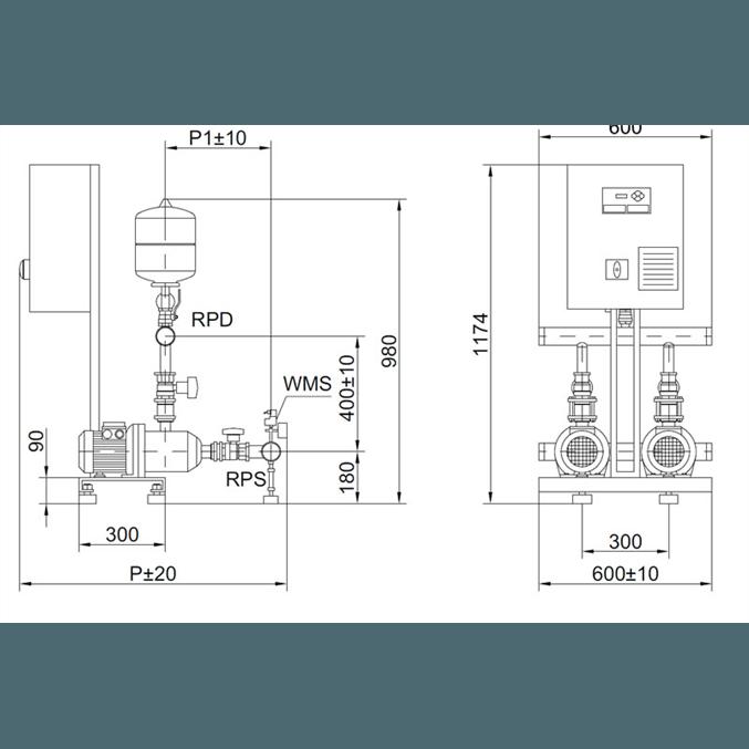 Габаритный чертеж насосной станции Wilo COR-2 MHI 202/SKw-EB-R