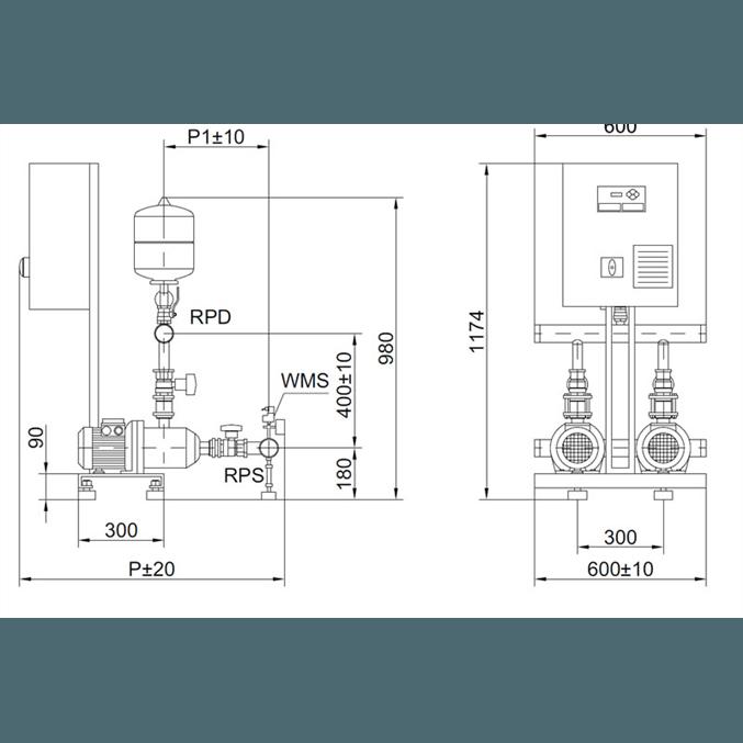 Габаритный чертеж насосной станции Wilo COR-2 MHI 205/SKw-EB-R