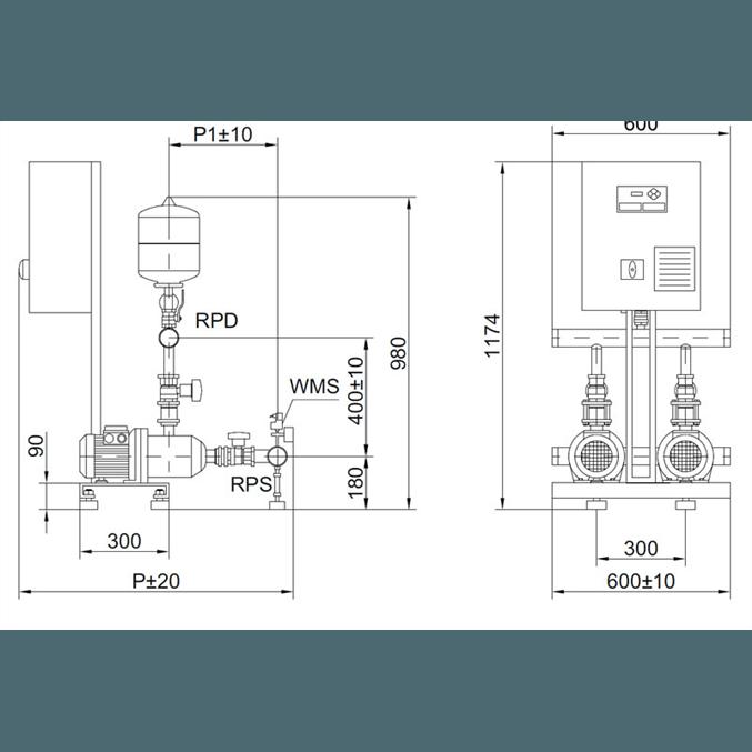 Габаритный чертеж насосной станции Wilo COR-2 MHI 404/SKw-EB-R