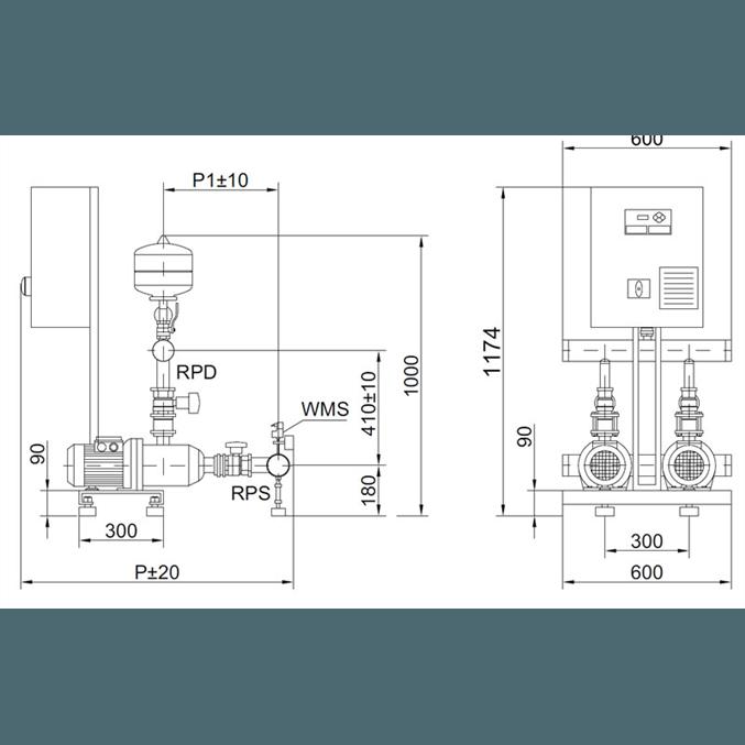 Габаритный чертеж насосной станции Wilo COR-2 MHI 805/SKw-EB-R