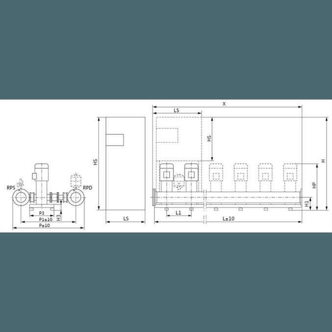 Габаритный чертеж насосной станции Wilo COR-2 MVI 7005/2/SKw-EB-R