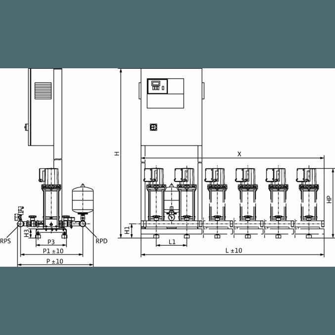 Габаритный чертеж насосной станции Wilo COR-2 MVIS 202/SKw-EB-R