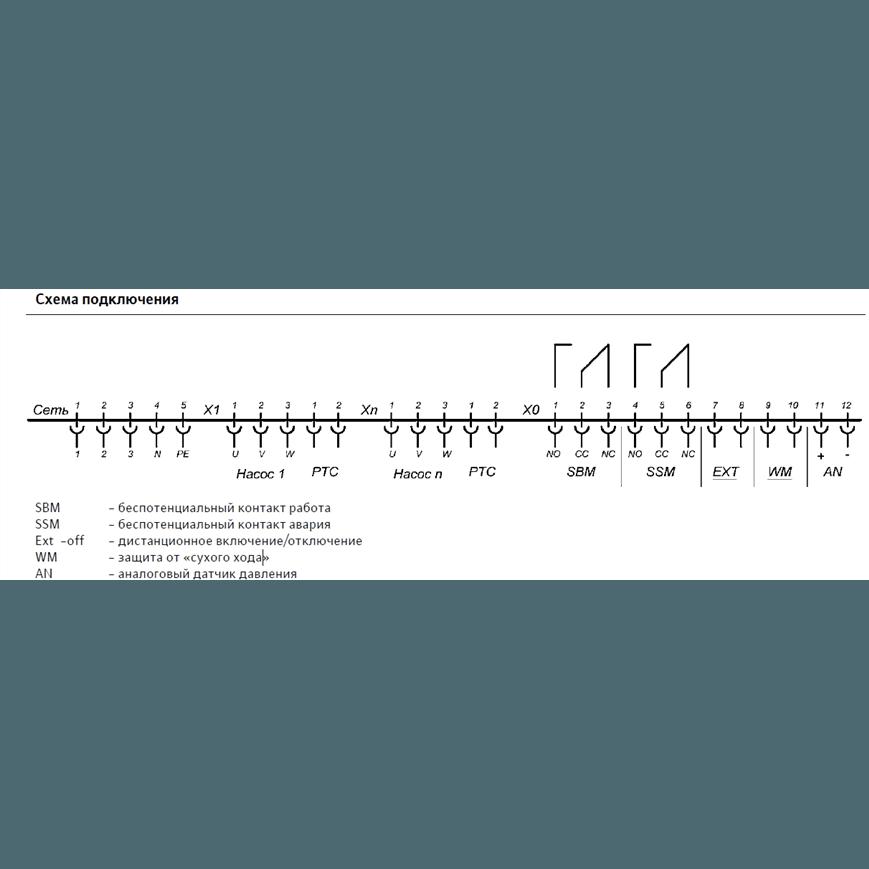 Схема подключения насосной станции Wilo COR-2 MVIS 207/SKw-EB-R