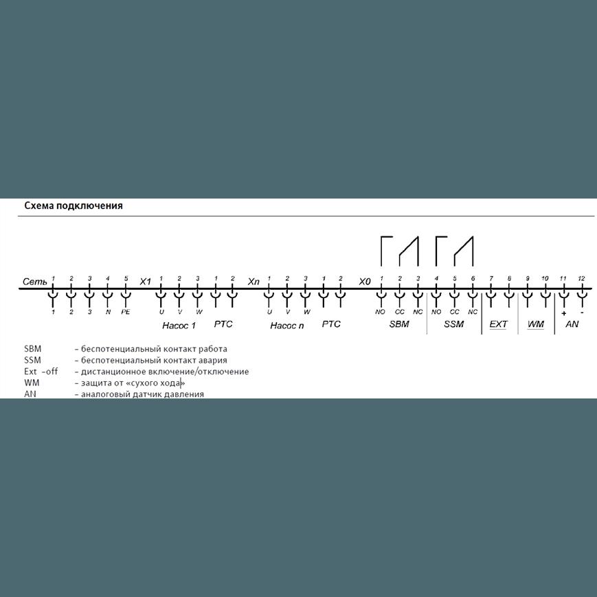 Схема подключения насосной станции Wilo COR-2 MVIS 404/SKw-EB-R