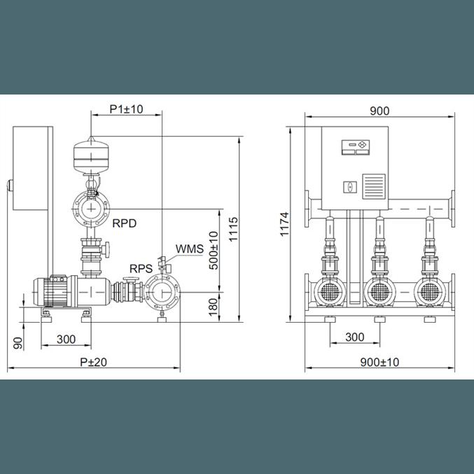 Габаритный чертеж насосной станции Wilo COR-3 MHI 1602/SKw-EB-R