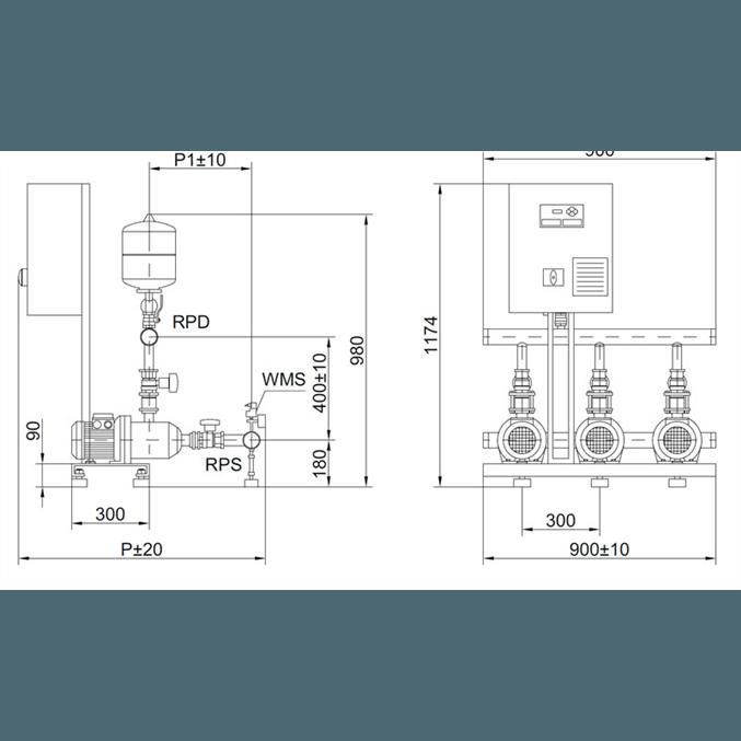 Габаритный чертеж насосной станции Wilo COR-3 MHI 203/SKw-EB-R