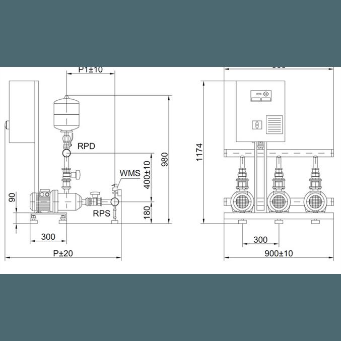 Габаритный чертеж насосной станции Wilo COR-3 MHI 402/SKw-EB-R