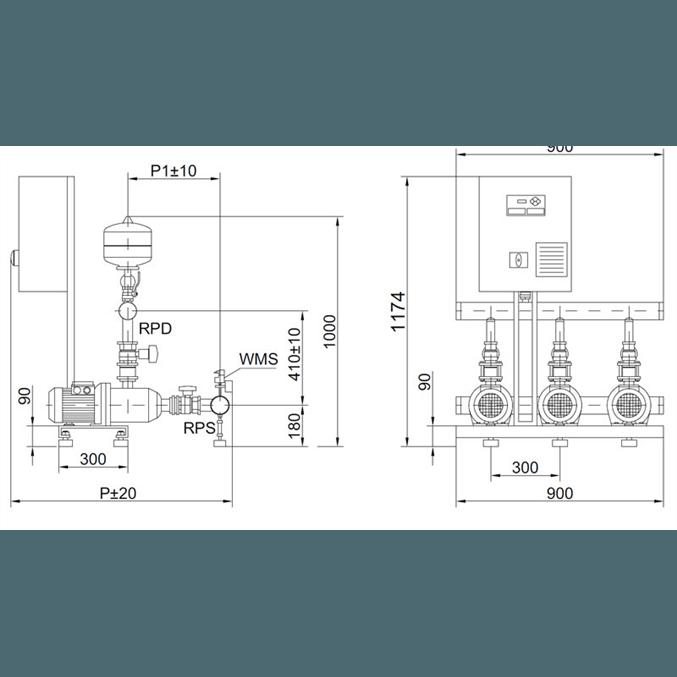 Габаритный чертеж насосной станции Wilo COR-3 MHI 803/SKw-EB-R
