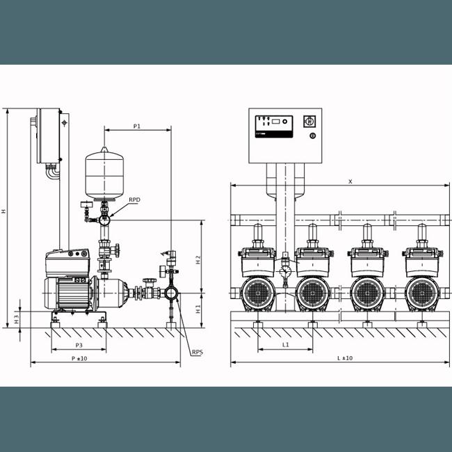 Габаритный чертеж насосной станции Wilo COR-3 MHIE 406-2G/VR-EB-R