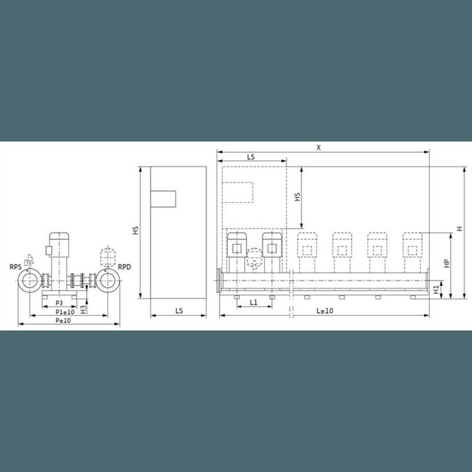 Габаритный чертеж насосной станции Wilo COR-3 MVI 7006/2/SKw-EB-PN25-R