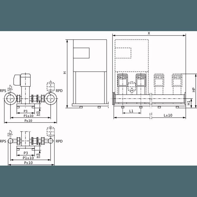 Габаритный чертеж насосной станции Wilo COR-3 MVIE 7004/VR-EB-R