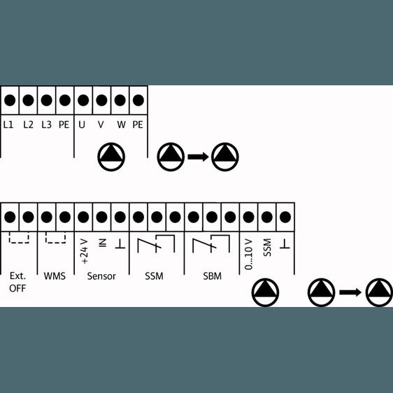 Схема подключения насосной станции Wilo COR-3 MVIE 7004/VR-EB-R