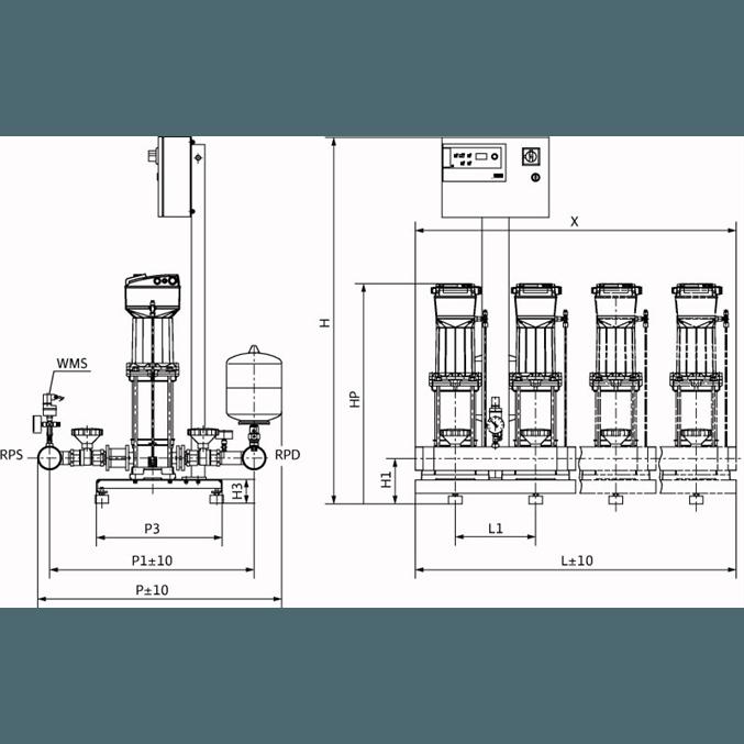 Габаритный чертеж насосной станции Wilo COR-3 MVISE 806-2G/VR-EB-R