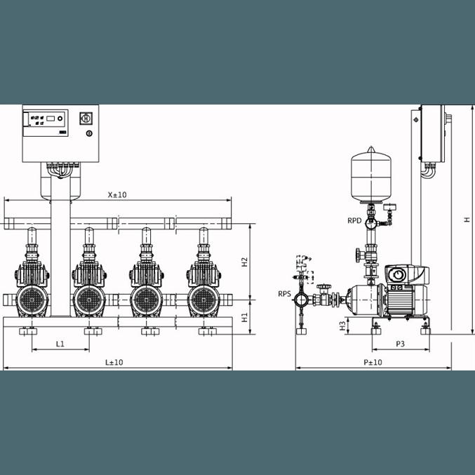 Габаритный чертеж насосной станции Wilo COR-4 MHIE 205 EM/VR-EB-R