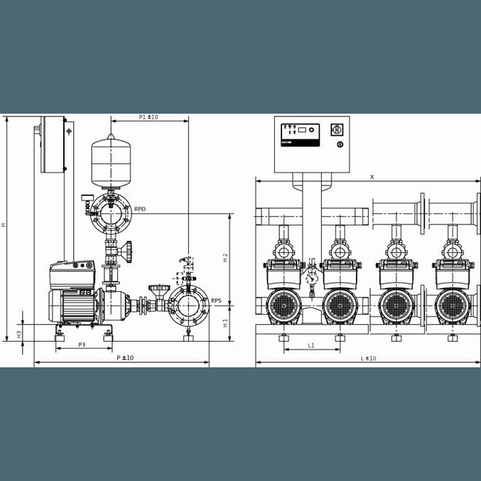 Габаритный чертеж насосной станции Wilo COR-4 MHIE 803-2G/VR-EB-R