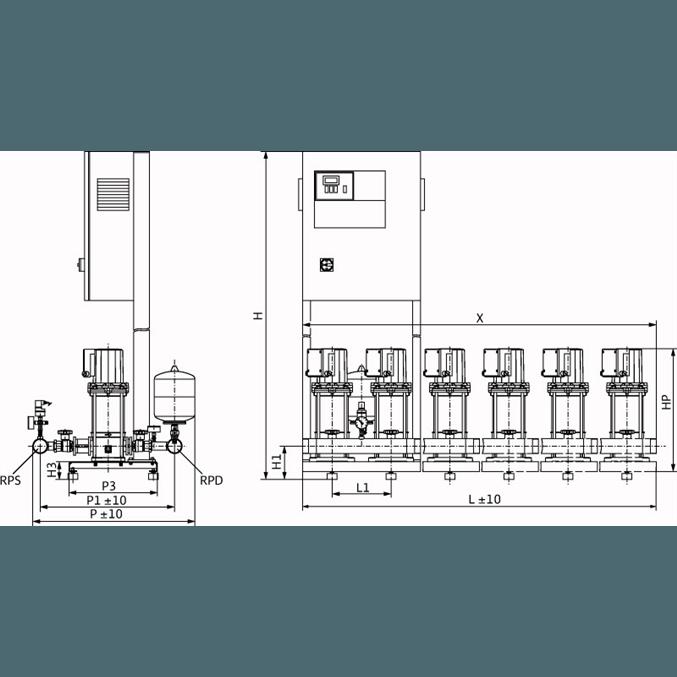Габаритный чертеж насосной станции Wilo COR-4 MVIS 802/SKw-EB-R