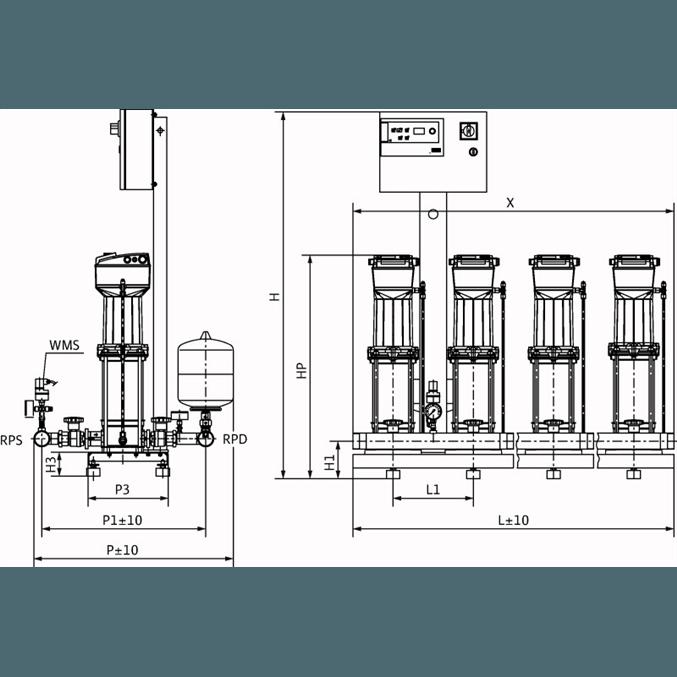 Габаритный чертеж насосной станции Wilo COR-4 MVISE 210-2G/VR-EB-R