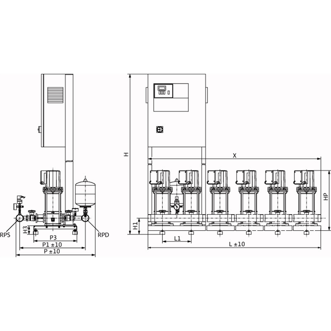 Габаритный чертеж насосной станции Wilo COR-6 MVIS 804/SKw-EB-R