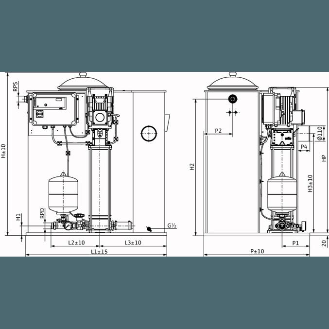 Габаритный чертеж насосной станции Wilo CO/T-1 HELIX V 606/CE