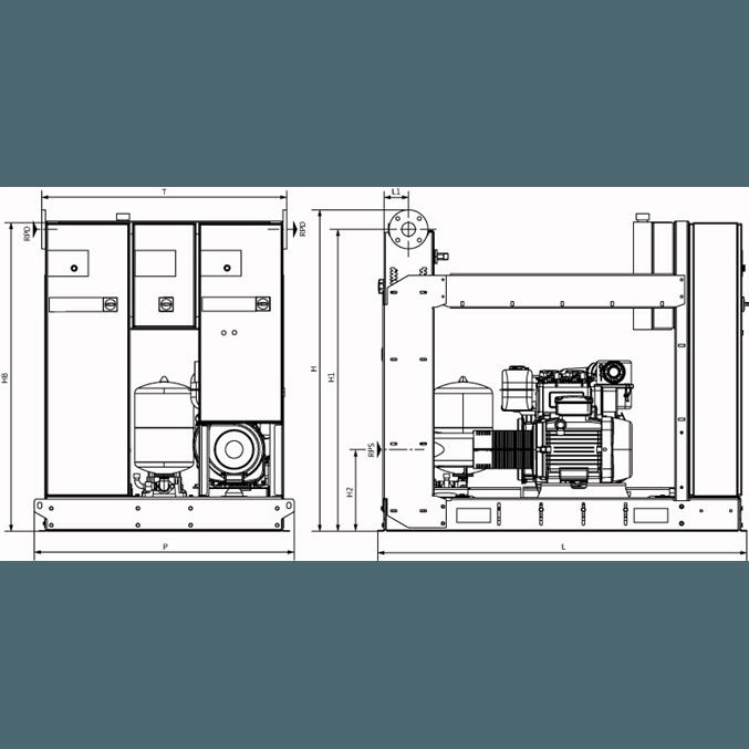 Габаритный чертеж насосной станции Wilo SiFire-100/200-168R-22/26.5/0.55-EDJ-R