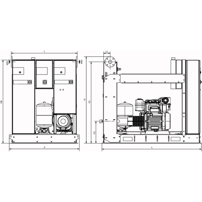 Габаритный чертеж насосной станции Wilo SiFire-40/250-248-22/26.5/1.1-EDJ-R