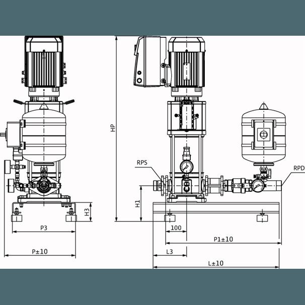 Габаритный чертеж насосной станции Wilo Smart 1 HELIX VE 1004